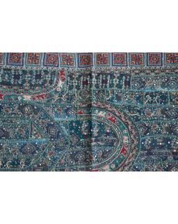 Unikátní tapiserie z Rajastanu, smaragdově zelená, ruční vyšívání, 67x129cm
