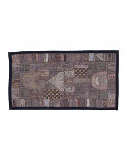Unikátní tapiserie z Rajastanu, světle hnědá, ruční vyšívání, 67x129cm