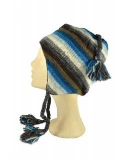 Čepice, uši, vlna, podšívka, pruhy tyrkysovo-šedo-hnědé
