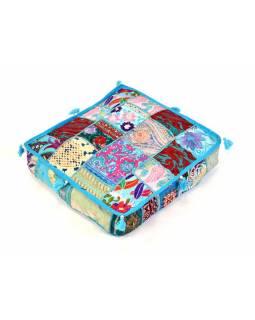 Meditační polštář, ručně vyšívaný patchwork, čtverec, 42x42x10cm
