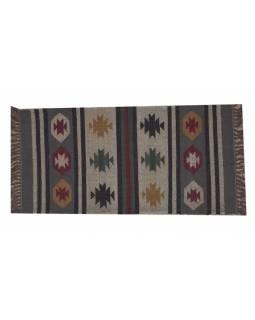 Koberec běhoun, ručně tkaný, vlna, juta, 61x133cm