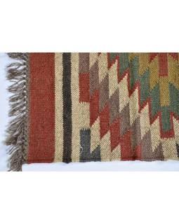 Koberec běhoun, ručně tkaný, vlna, juta, 77x137cm