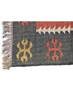 Koberec, ručně tkaný, vlna, juta, 125x197cm