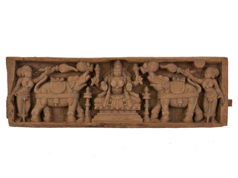 Vyřezávaný antik panel Laxmi, 63x20x5cm