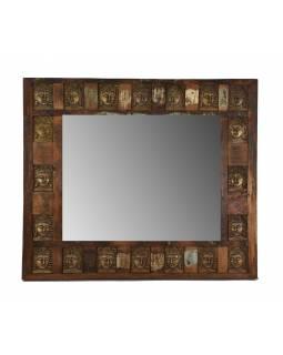 Zrcadlo v rámu zdobeném reliéfy buddhů, antik teak, 90x80x4cm