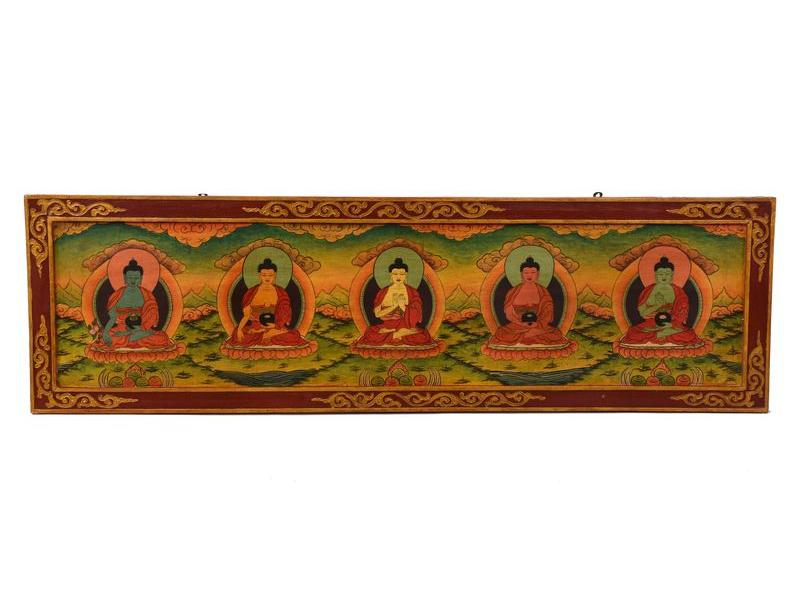 Dřevěný panel, Pět Dhjáni Buddhů, ručně malované,, 129x38x2cm