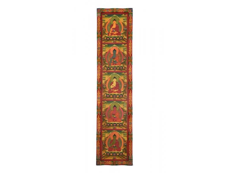 Dřevěný panel, Pět Dhjáni Buddhů, ručně malované, 161x37x4cm