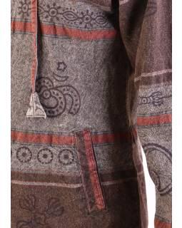 Pánská bunda s kapucí zapínaná na zip, tmavě hnědá, potisk