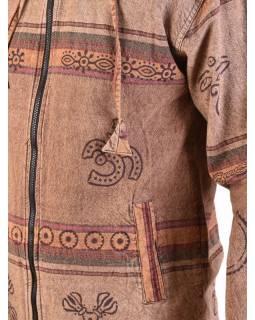 Pánská bunda s kapucí zapínaná na zip, světle hnědá, potisk