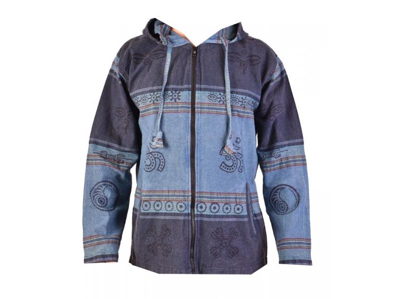 Pánská bunda s kapucí zapínaná na zip, tmavě modrá, potisk