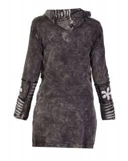 Prodloužená šedá mikina s kapucí, prostřihy a výšivkou, kapsy