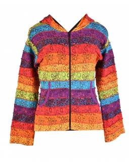 Multibarevná patchworková mikina se špičatou kapucí a potiskem, kapsy, zip