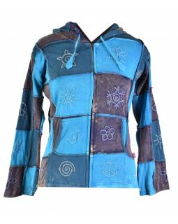 Modrá patchworková mikina s kapucí , prostřihy a výšivky, kapsy, zip