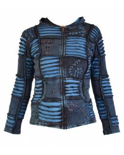 Modrá mikina s kapucí a výšivkou, prostřihy, zip, kapsy