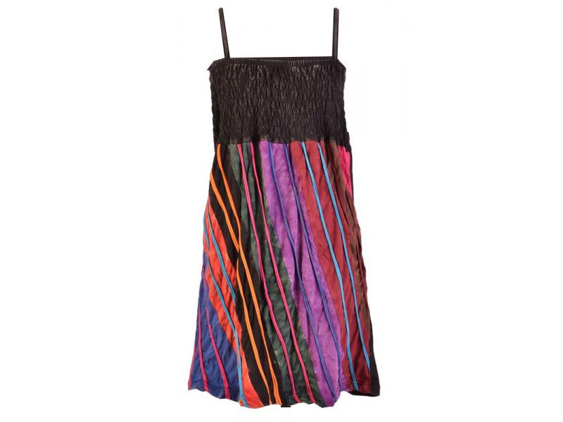 Mini šaty na ramínka, černo-barevné, aplikace