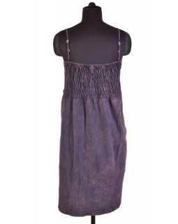 Mini šaty na ramínka, fialovo-šedo zelené, aplikace květin