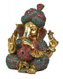 Ganéš, unikátní socha zdobená polodrahokamy, mosaz  27x38x44cm, 27x38x44cm