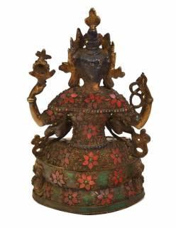Avalokitešvara, mosazná soška vykládaná polodrahokamy, 15x22x37cm