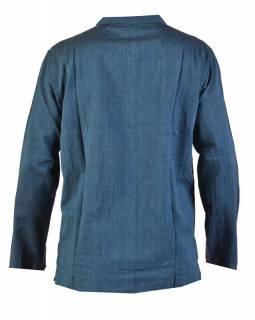 Tmavě modrá pánská košile-kurta s dlouhým rukávem a kapsičkou, měkčené provedení