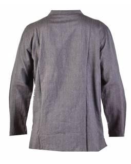 Šedivá pánská košile-kurta s dlouhým rukávem a kapsičkou, měkčené provedení