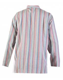 Pruhovaná pánská košile-kurta s dlouhým rukávem a kapsičkou, světle modrá