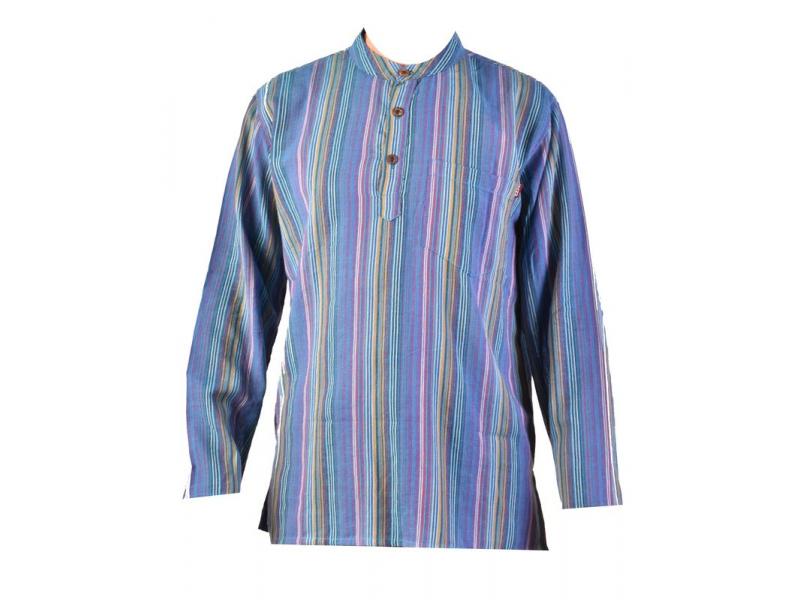 Pruhovaná pánská košile-kurta s dlouhým rukávem a kapsičkou, tyrkysová