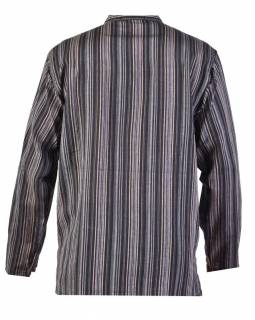 Pruhovaná pánská košile-kurta s dlouhým rukávema kapsičkou, šedo-černá