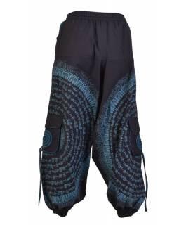 Turecké kalhoty s kapsami, guma v pase, černo-petrolejové, potisk mantra a sloni