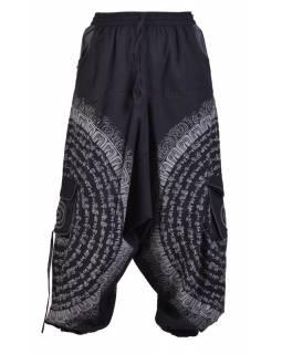 Turecké kalhoty s kapsami, guma v pase, černo-šedivé, potisk mantra a sloni