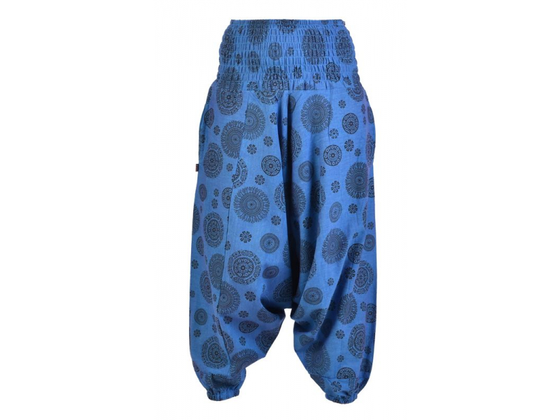 Modré turecké kalhoty s potiskem mandal, kapsy