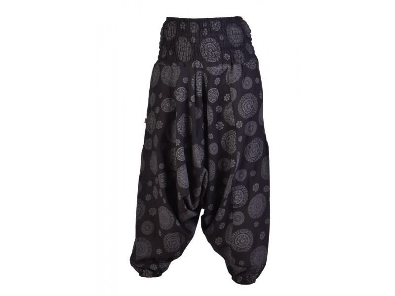 Černé turecké kalhoty s kapsami a potiskem mandal