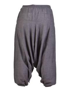 Šedivé turecké kalhoty, guma v pase, kapsy, měkčené provedení