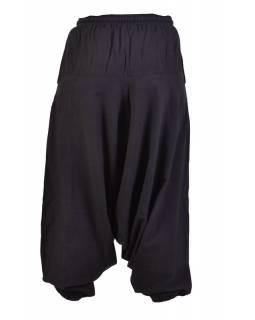 Černé turecké kalhoty, guma v pase, kapsy, měkčené provedení