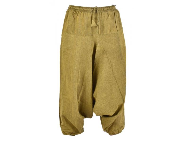 Zelené turecké kalhoty, guma v pase, kapsy, měkčené provedení