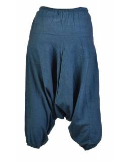Tmavě modré turecké kalhoty, guma v pase, kapsy, měkčené provedení