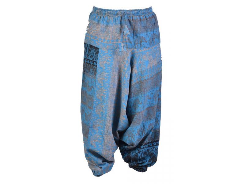 Modro-šedé turecké kalhoty, guma v pase, kapsy, potisk slonů