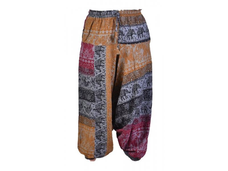 Vínovo-černo-žluté turecké kalhoty, guma v pase, kapsy, potisk slonů