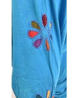 Tyrkysové turecké kalhoty s barevnými květinami, výšivka, bobbin