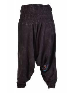 Černé turecké kalhoty s barevnými květinami, výšivka, bobbin