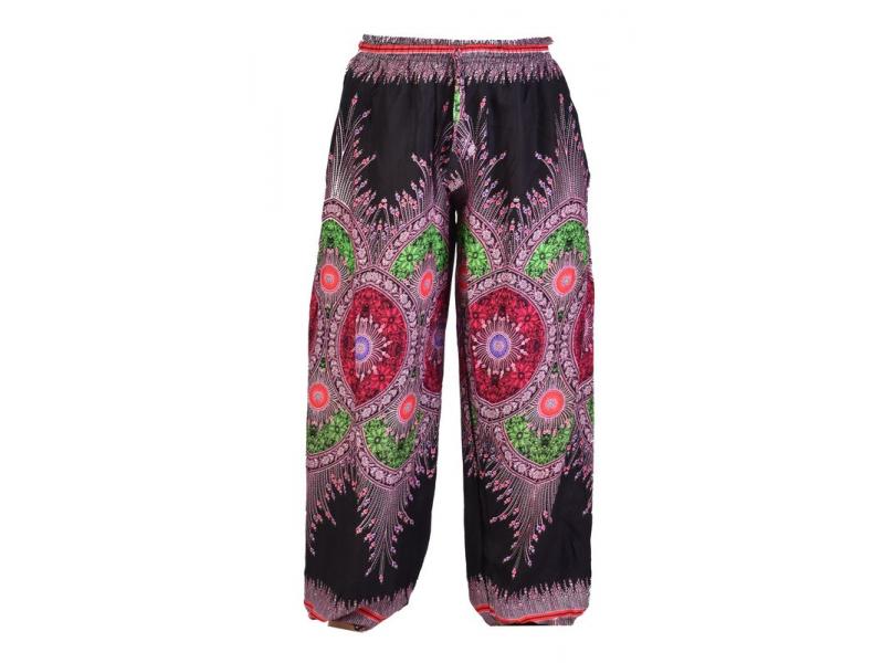 Černé kalhoty z lehkého materiálu, barevný potisk, černo-růžové