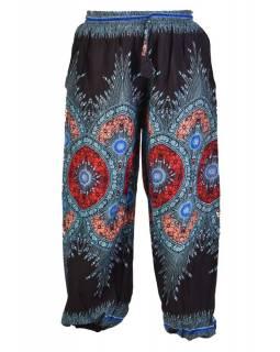 Černé kalhoty z lehkého materiálu, barevný potisk, černo-tyrkysové