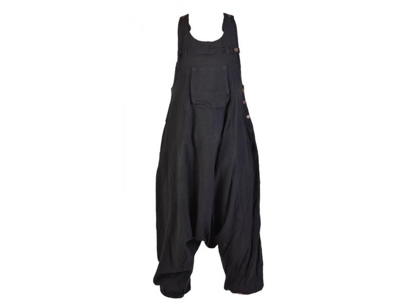 Černé turecké kalhoty s laclem, rozepínání na knoflíky, kapsy