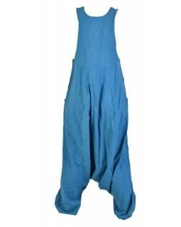 Tyrkysové turecké kalhoty s laclem, rozepínání na knoflíky, kapsy