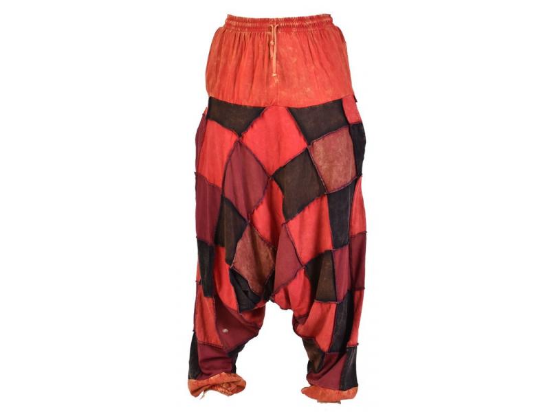 Turecké unisex kalhoty, kapsy, patchwork, červené odstíny