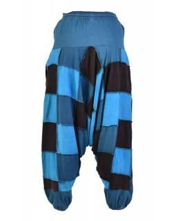 Turecké unisex kalhoty, kapsy, patchwork, modro-černé
