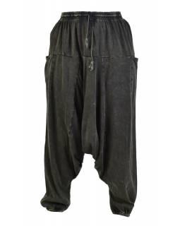 Turecké unisex kalhoty, kapsy, stonewash, tmavě zelené