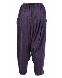 Turecké unisex kalhoty, kapsy, stonewash, tmavě fialové