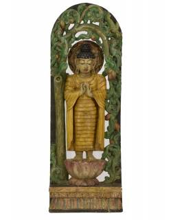 Dřevěná socha Buddha z jižní Indie, rain tree wood, 38x10x108cm