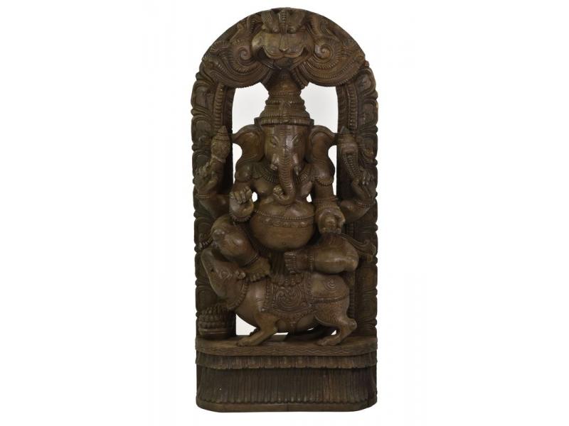 Dřevěná socha Ganeši z jižní Indie, rain tree wood, 44x14x93cm
