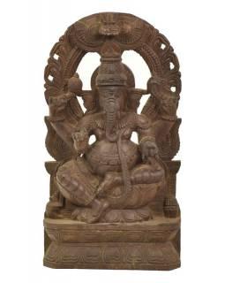 Dřevěná socha Ganeši z jižní Indie, rain tree wood, 24x7x46cm